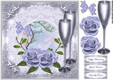 Lilac Roses Special Occasion on Craftsuprint designed by Marijke Kok - Gorgeous roses in lilac color on a lovely background with broderie frame ,champagne and a satin bow,very elegant and for any special occasion. - Now available for download!