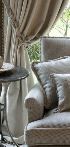 Need help with window treatments for your home? Let the designers at Ashley Carol Home & Garden assist you! Home Curtains, Curtains With Blinds, Burlap Curtains, Valances, Window Coverings, Window Treatments, Window Dressings, Window Styles, Curtain Designs