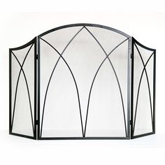 lowes Style Selections 47.87-in Black Powder Coated Steel 3-Panel Arched Fireplace Screen