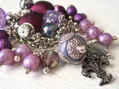 Luscious Orchid and Purple with Fleur de Lis Charms by Nansglams, $18.53
