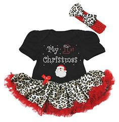 Baby Girl First Christmas Dress  Adorable black bodysuit with a leopard  print tutu skirt and 5cddb315360c
