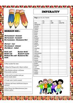 Imperativ Germany Language, German Grammar, German Language Learning, Grammar And Vocabulary, Learn German, Worksheets, Funny Jokes, Homeschool, Classroom