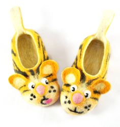 46b455692d3 felted baby and child yellow tigers felt slippers made to ORDER  handmade  house baby shoes  funny tigers animal slippers for children