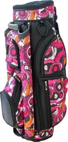 Check out our Brush Strokes (Black, Pink, Orange & White) LGS Ladies Golf Cart Bag! Find the best golf gear and accessories at #lorisgolfshoppe Click through to own this golf cart bag! #golfgear