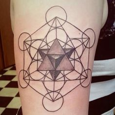#metatroncube #sacredgeometry #platonicsolids #mathscience #tattoo #ink  The start of a sacred geometry/alchemy/ occult sleeve. I have had it for awhile... I want to add more so bad, but im broke.