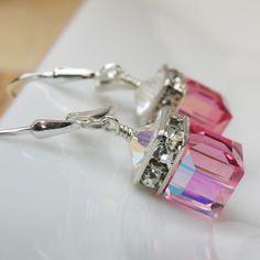 Pink Rose Crystal Earrings Swarovski Cube Sterling by fineheart, $28.00
