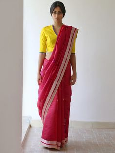 Deep Pink Silver Sunglow Yellow Crimson Gulbadan Silk & Zari #Saree By Raw Mango. Available Online At Jaypore.com.