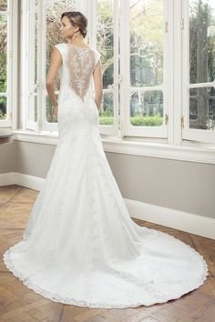 Mia Solano A Line Tulle Gown With Lace Lique Bodice Features Sweetheart Neckline And Cap Sleeves Back Deep V Overlay