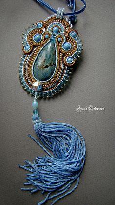 """Купить Кулон """"дорога в небо"""" - голубой, кулон, подвеска, подарок, подарок девушке, сутаж, бисер"""