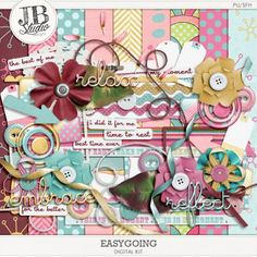 Easygoing by JB Studio. A 40% off Digi Deal at Go Digital Scrapbooking from July 1-13.*Get pack of grungy papers for free. The kit includes 9 patterned papers, 4 solids, 62 elements and 2 alphabet sets.