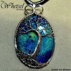 Sterling & Fine Silver Wire Wrap Tree of Life Pendant - Galaxy Glow Orgonite - Handmade Jewelry by Tim Whetsel from Wire Wrapped Jewelry by TDW Tree Of Life Jewelry, Tree Of Life Necklace, Tree Of Life Pendant, Bijoux Wire Wrap, Wire Wrapped Jewelry, Wire Jewelry, Ocean Jewelry, Pendant Jewelry, Jewelry Crafts