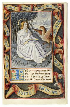St. John on Patmos, f. 8 from a Book of Hours, use of Rome, Alternative Attribution, 24 x 15 cm, 1490 - 1500. Image courtesy of  Dr. Jörn Günther Rare Books.