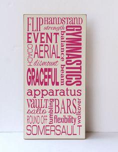 Gymnastics Subway Art Wood Sign, Child Wall Art, Child Bedroom Decor, Gymnastics Decor,, Sustainable Home Decor,Your Colors