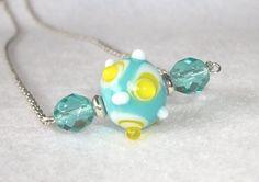 Lampwork Pendant Necklace Lampwork bead aqua by InspiredByKarma, $20.00