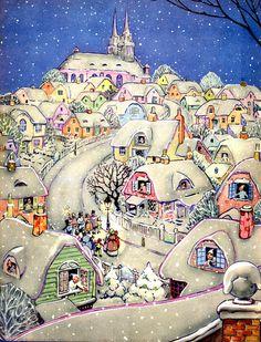 Vintage Christmas Village Card ~ a tad of Orange