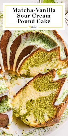 Matcha Sour Cream Pound Cake with Vanilla Glaze Matcha Dessert, Matcha Cake, Homemade Cake Recipes, Pound Cake Recipes, Pound Cakes, Baking Recipes, Sour Cream Pound Cake, Fruit Jam, Fruit Salads