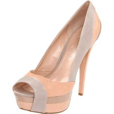 peach and gray peep toe.. that jessica simpson she can make a mean shoe.