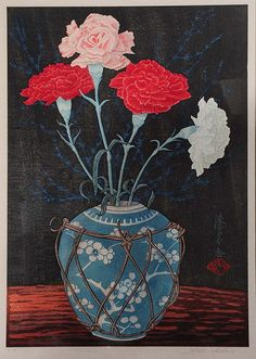 Yoshijiro Urushibara (Japanese, 1888-1953) Chrysanthemums in a Chinese blue and white vase, sealed, signed and numbered 116 in pencil, woodblock, 33cm x 22cm
