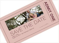 Paper Culture  Admit One Ticket Themed Save the Date Cards