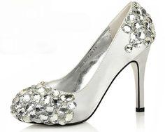 silver crystals set sheepskin heelsbridesmaids by emma999 on Etsy.    So beautiful!