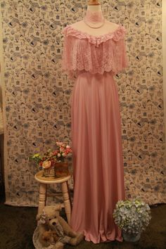 Vintage Pink Capelet Lace Evening Gown by BlessingKnotBridal, $230.00