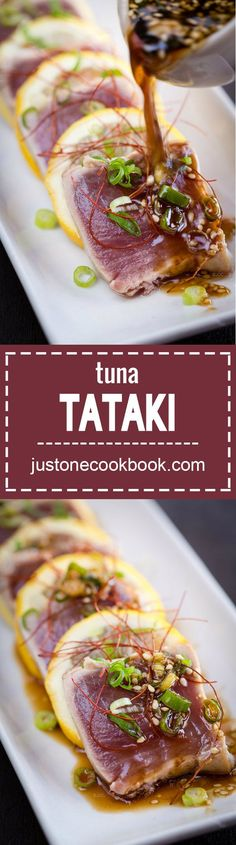 Tuna Tataki (キハダ鮪のたたき) | Easy Japanese Recipes at http://JustOneCookbook.com
