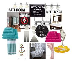 """his and her bathroom"" by tabitha-escoe ❤ liked on Polyvore featuring interior, interiors, interior design, home, home decor, interior decorating, Kate Spade, Kassatex, INC International Concepts and H&M"