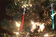 Light saber Christmas tree ornaments | For The Home Depot Style Challenge and Ashley and Greg Brown of 7th House on the Left