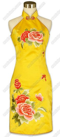 Splendiferous Peony Embroidered Silk Dress from EastStore