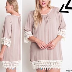 "HOST PICK 12/26 BEAUTIFUL LACE TRIMMED TUNIC So soft and feminine. Can be worn many ways- leggings, jeans, skirts, shorts, etc. The crochet lace trim is exquisite and there is also trim tape around the neckline. BLUE ONLY. MOCHA SOLD OUT. 95%  polyester/5% spandex.                                              ♦️XL: BUST 48""♦️1X: 50""                                BLUE: Two XL-two 1X Tops"