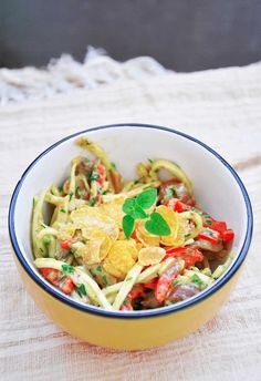 Celeriac Noodle Salad with Avocado Mayo Dressing - This salad is both crunchy and moist and has a very interesting blend of flavors. Raw vegan and healthy too! | gourmandelle.com