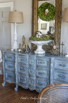 The one piece of furniture in our home that gets the most attention and comments has to be the blue French Provincial dresser in our kitchen/breakfast room. It was recently part of our feature in the French magazine Shabby Style. Art Deco Furniture, Steel Furniture, French Furniture, Colorful Furniture, Furniture Projects, Painted Furniture, Home Furniture, Painted Dressers, Modern Furniture