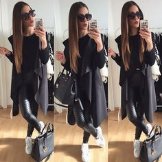 """""""•TODAY• ✌️✔️ Wish you a Nice evening, loves  long West by @lori_fashion  #ootd #potd #black #allblack #adidas #selfie #duckface #sunnies """""""