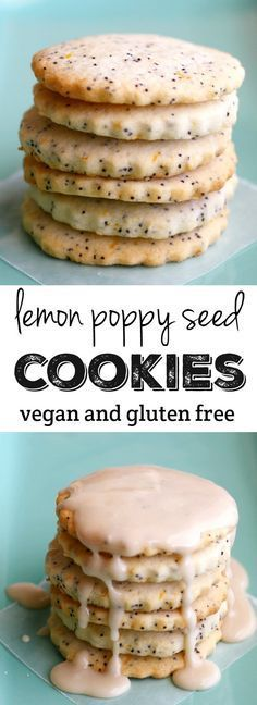 Buttery lemon poppy seed cookies are crisp and delicious! Make them special by adding a simple glaze. Vegan and gluten free cookie recipe, and free of the top 8 allergens. ≈≈★★★≈≈ P.S.: ARE YOU or your friends VEGAN(S)? Look at this vegan CUSTOM NAME SHIRTS and brand them with your (their) name(s). Great discounts available: https://shirtsheaven.com/vegan