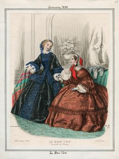 In the Swan's Shadow: Le Bon Ton, January 1858  Civil War Era Fashion Plate