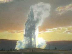 Old Faithful Geyser at Sunset, Yellowstone National Park
