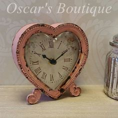 Beautiful shabby chic heart shaped mantle clock.  #ValentinesDayGiftIdeas #ValentinesDay #ValentinesDay2015  http://www.oscarsboutique.co.uk/pink-heart-shaped-mantle-clock-1406-p.asp