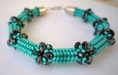 Turquoise bangle bracelet  with Superduo beads