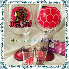 Wine glasses. Hand painted. Bel Air Terps football.