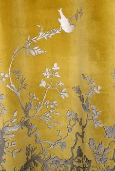 Timorous Beasties Fabric - Birdbranch Velvet Panel, I need these for my room! Timorous Beasties, Grey And Gold, Shades Of Yellow, Mellow Yellow, Gray Yellow, Color Yellow, Fabric Wallpaper, Chinoiserie Wallpaper, Soft Furnishings