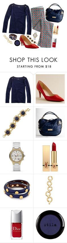 """J.Crew Cafe Capri"" by handbagaficionado ❤ liked on Polyvore featuring J.Crew, Coach, DKNY, Yves Saint Laurent, Tory Burch, Christian Dior, Stila, cropped pants, stacked bracelets and tee shirt"
