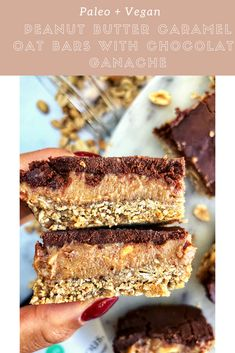 Peanut Caramel Oat Bars with Chocolate Ganache — dani's healthy eats Healthy Desserts, Delicious Desserts, Yummy Food, Paleo Vegan, Vegan Food, Baking Recipes, Dessert Recipes, Oat Cookies, Oat Bars