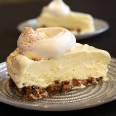 Egg Nog Pie: Whipped topping borders a ginger cookie crumb crust that serves as a delightful base for a holiday dessert.