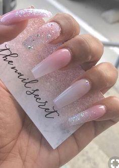 Pink glitter Nail art - Nail art designs, Fashion on trends,Hairstyles ,Braids ,updo wedding hair Pink Glitter Nails, Cute Acrylic Nails, Cute Nails, My Nails, Nail Pink, Pink Ombre Nails, Clear Nails With Glitter, Ombre Nail Art, Coffin Nails Glitter