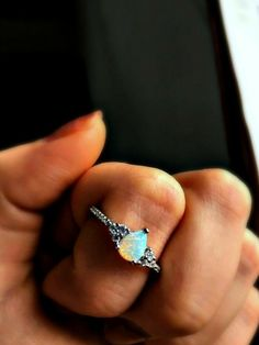 1.20Ct Pear Cut Opal & Diamond Solitaire Engagement Ring 14K White Gold Finish | eBay