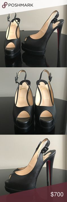 Christian Louboutin Lady Peep Sling- Authentic Lady peep sling in black kid leather. 150mm heel with platform. Premium condition, never been worn outside of the house, no wear. Does not include shoebox or dust bag. Size 38, typically fits size 7/7.5 Christian Louboutin typically runs half a size small. Christian Louboutin Shoes Platforms