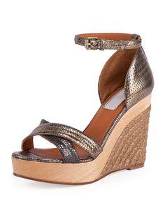 Lanvin Metallic Espadrille Wedge Sandal, Gold