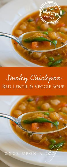 Smoky Chickpea, Red Lentil & Vegetable Soup - delicious! I added cauliflower and spinach because I had some laying around, great addition. Next time, I'll skip blending it - the chickpeas are the best part!