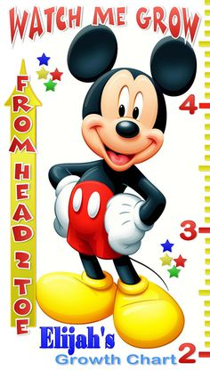 Mickey Mouse Personalized Custom Growth by GraphicMagicDesigns, $24.95