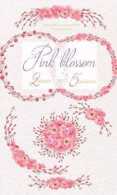 Sakura blossom Hand Painted Watercolour Clip Art Valentines